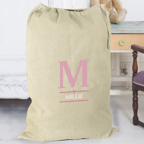 Girls Initial Cotton Sack